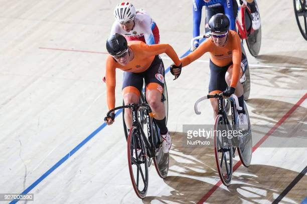 Kirsten Wild and Amy Pieters Women`s madison during the UCI Track Cycling World Championships in Apeldoorn on March 3 2018