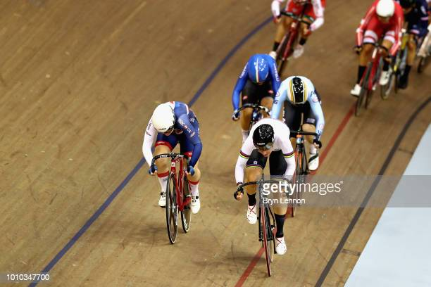 Kirsten Wild of Netherlands and Emily Kay of Great Britain sprint for the finish line in the 10km Womens Scratch Race during the track cycling on Day...