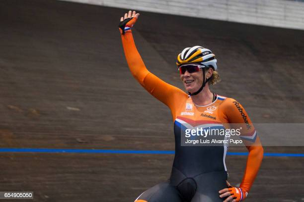 Kirsten Wild of Netherlands celebrates the victory in the Omnium on day two of the Belgian International Track Meeting 2017 held at the Eddy Merckx...