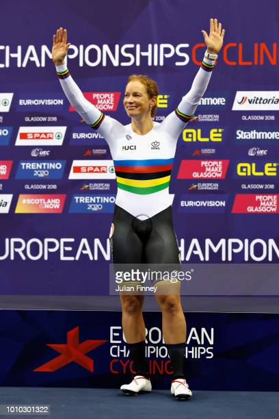 Kirsten Wild of Netherlands celebrates winning gold in the 10km Womens Scratch Race during the track cycling on Day Two of the European Championships...