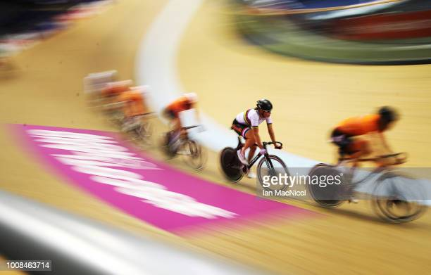 Kirsten Wild of Netherlands is seen during a practice session at the Sir Chris Hoy Veladrome prior to the European Championships Glasgow 2018 on July...
