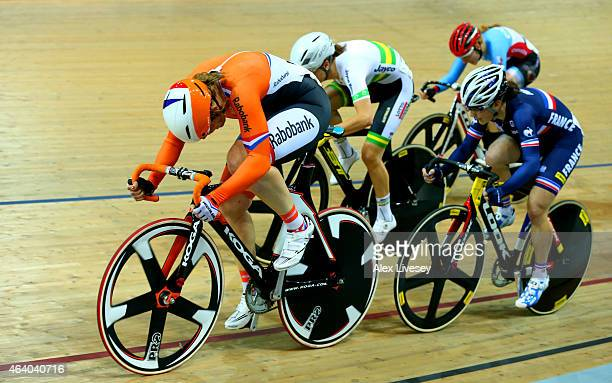 Kirsten Wild of Netherlands wins gold in the Women's Scratch Race Final on day four of the UCI Track Cycling World Championships at The National...
