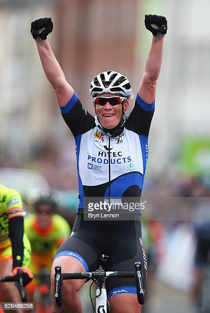 Kirsten Wild of Team Hitec Products and the Netherlands wins the women's race in the second stage of the 2016 Tour de Yorkshire between Otley and...