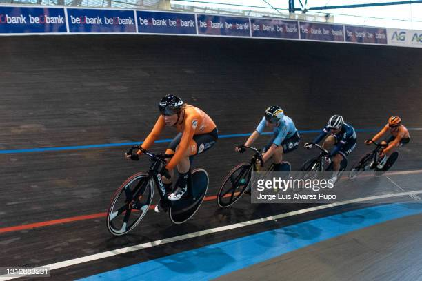 Kirsten Wild of The Netherlands and Lotte Kopecky of Belgium compete during the Points race as part of the UCI Belgian International Track Meeting at...