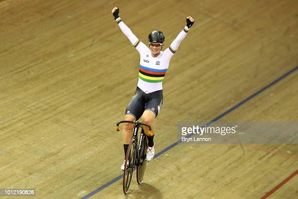 Kirsten Wild of the Netherlands celebrates winning the gold medal in the Women's Omnium 20km points race during the track cycling on Day five of the...