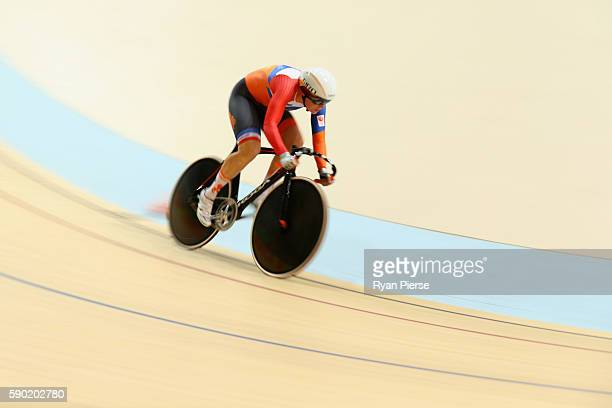 Kirsten Wild of the Netherlands competes during the Women's Omnium Flying Lap 5\6 race on Day 11 of the Rio 2016 Olympic Games at the Rio Olympic...
