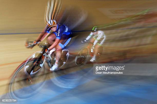 Kirsten Wild of the Netherlands competes in the Women's Points Race Final during the Tissot UCI Track Cycling World Cup 2016-2017 held at the sport...