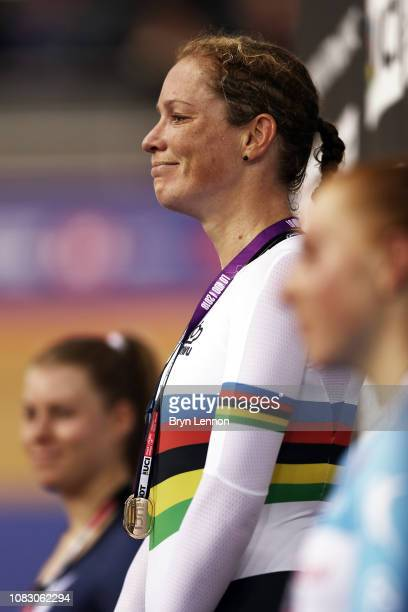 Kirsten Wild of the Netherlands stands on the podium after winning the Women's Omnium on day two of the 2018 TISSOT UCI Track Cycling World Cup at...