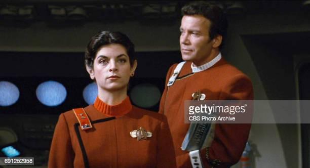 Kirstie Alley as Lieutenant Saavik and William Shatner as Admiral James T Kirk in the movie Star Trek II The Wrath of Khan Release date June 4 1982...