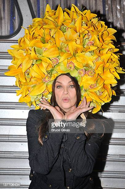 Kirstie Alley poses backstage at the hit musical 'Priscilla Queen of the Desert' on Broadway at The Palace Theater on January 24 2012 in New York City