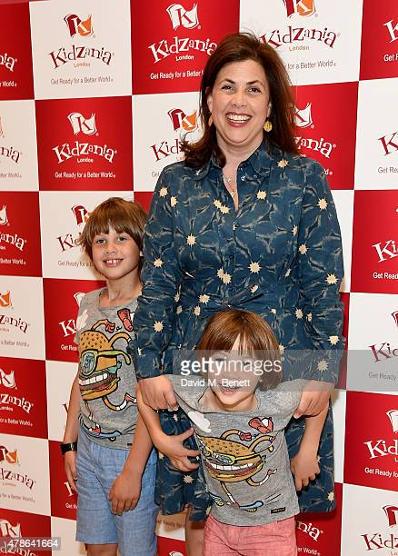 Kirstie Allsopp and sons Bay Atlas Andersen and Oscar Hercules Andersen attend a tea party to celebrate the launch of KidZania London at Westfield...