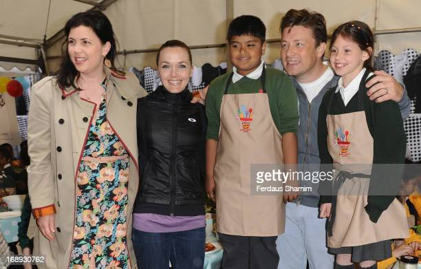 Kirstie Allsopp Victoria Pendleton and Jamie Oliver attend Jamie Oliver's Food Revolution Day at Fifteen London on May 17 2013 in London England