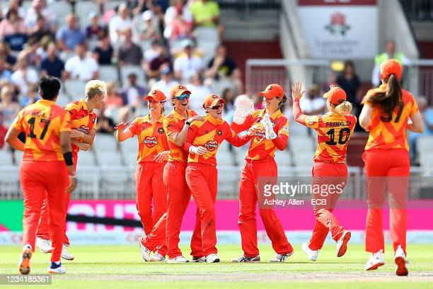 Kirstie Gordon of Birmingham Phoenix celebrates with team mates after catching Georgia Boyce of the Manchester Originals during The Hundred match...