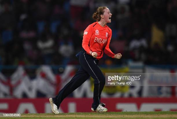 Kirstie Gordon of England celebrates after dismissing Harmanpreet Kaur of India during the ICC Women's World T20 2018 SemiFinal match between England...