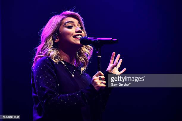Kirstie Maldonado of Pentatonix performs onstage at Z100's Jingle Ball 2015 Z100 CocaCola All Access Lounge Show at Hammerstein Ballroom on December...