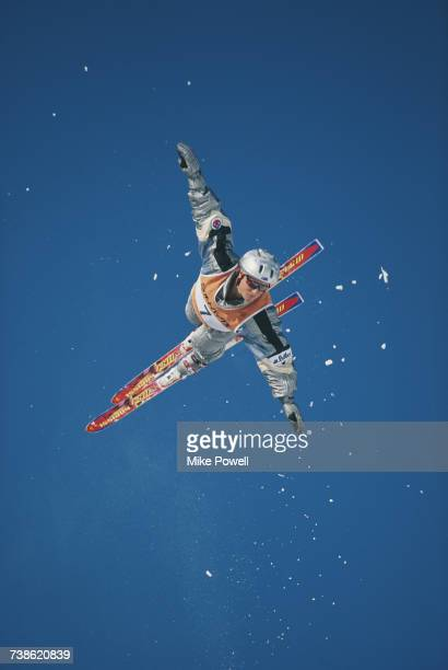 Kirstie Marshall of Australia competes in the Women's Aerials competition at the FIS Freestyle Skiing World Championship on 6 February 1997 at Iizuna...