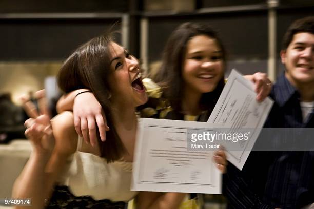 Kirstie Mclaughlin 16 celebrates with her friends after receiving her 'True Love Waits' certificate on February 13 2008 at the Full Life Assembly of...