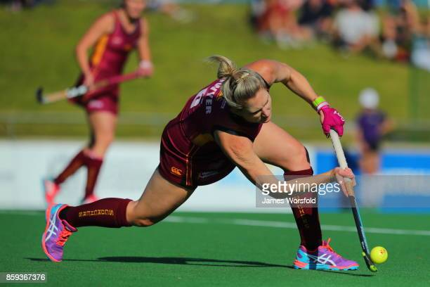 Kirstin Dwyer flicks the ball up out of defence at the women's 2017 Australian Hockey League gold medal final between Queensland Scorchers and...