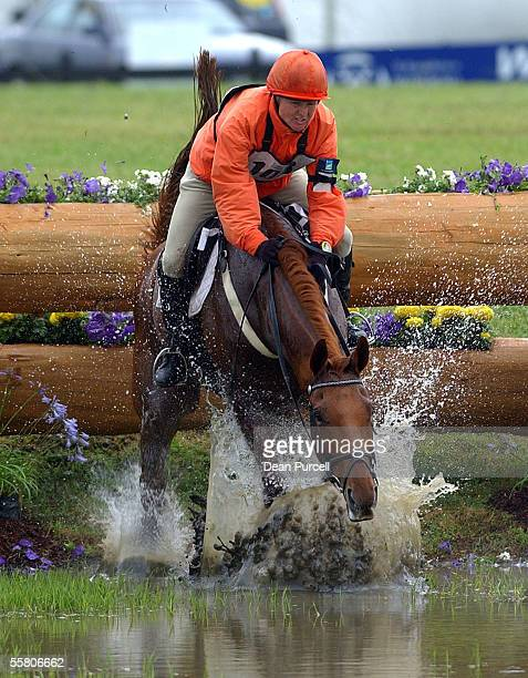 Kirstin Kelly riding Clifton Hula jumps into the water during the CCI class Cross Country Endurance day in the Three Day Event held at the Puhinui...