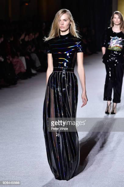 Kirstin Liljegren walks the runway during the Balmain show as part of the Paris Fashion Week Womenswear Fall/Winter 2018/2019 on March 2 2018 in...