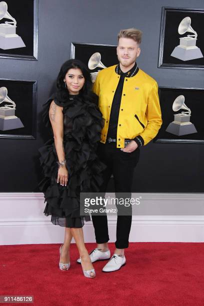 Kirstin Maldonado and Scott Hoying of the group Pentatonix attend the 60th Annual GRAMMY Awards at Madison Square Garden on January 28 2018 in New...
