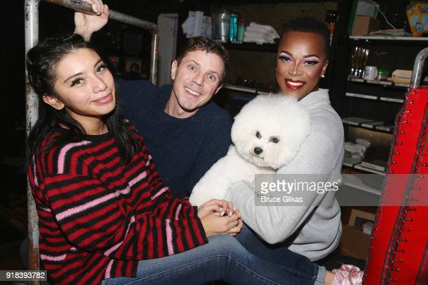 Kirstin Maldonado Jake Shears 2018 Westminster Dog Show 'Best in Show' Winner Flynn and J Harrison Ghee pose backstage at Kinky Boots on Broadway at...
