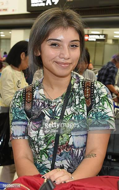 Kirstin Maldonado of Pentatonix is seen upon arrival at Narita International Airport on August 17 2016 in Narita Japan