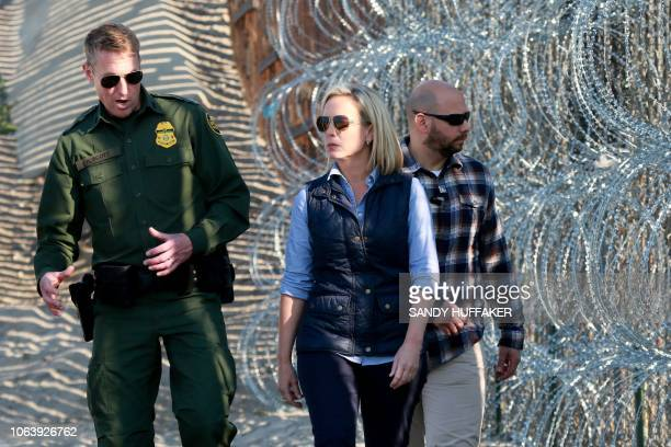 Kirstjen M Nielsen Secretary of the Department of Homeland Security tours the border area with San Diego Section Border Patrol Chief Rodney Scott at...