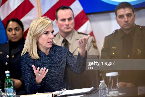 Kirstjen Nielsen secretary of Homeland Security speaks during a Customs and Border Protection roundtable discussion with US President Donald Trump...