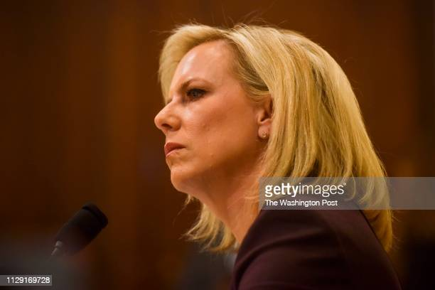 Kirstjen Nielsen Secretary of Homeland Security testifies before the House Homeland Security Committee at the Cannon House Office Building at a...