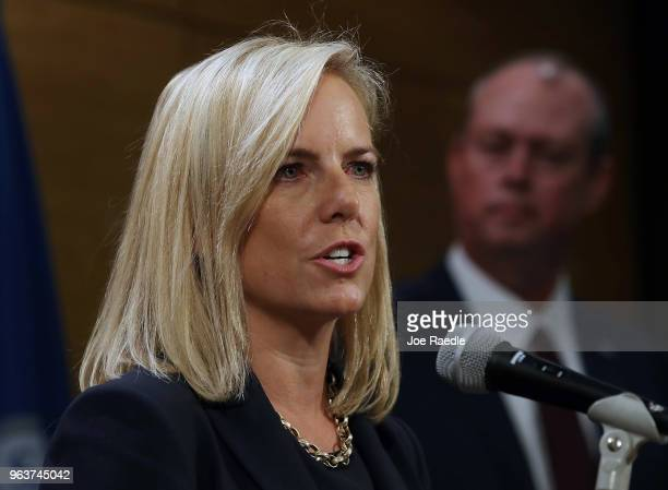Kirstjen Nielsen the US Homeland Security Secretary speaks during a visit to the National Hurricane Center on May 30 2018 in Miami Florida The...