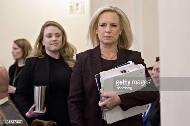 Kirstjen Nielsen US secretary of Homeland Security arrives to a House Homeland Committee hearing in Washington DC US on Wednesday March 6 2019 House...