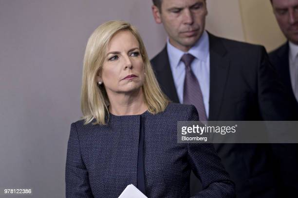 Kirstjen Nielsen US secretary of Homeland Security arrives to a White House press briefing in Washington DC US on Monday June 18 2018 President...