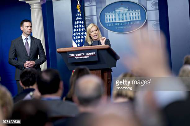 Kirstjen Nielsen US secretary of Homeland Security center speaks during a White House press briefing in Washington DC US on Monday June 18 2018...