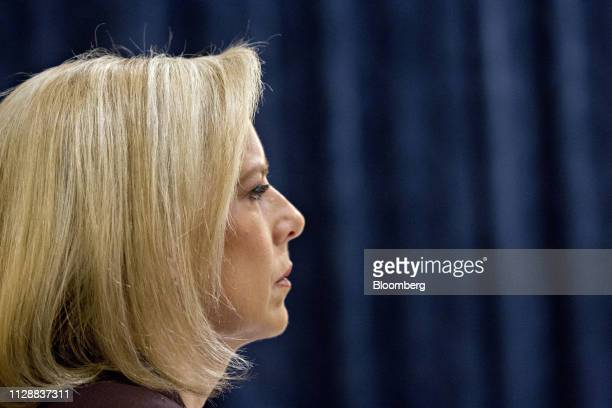 Kirstjen Nielsen US secretary of Homeland Security listens during a House Homeland Committee hearing in Washington DC US on Wednesday March 6 2019...