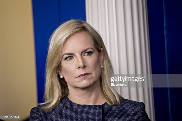 Kirstjen Nielsen US secretary of Homeland Security listens during a White House press briefing in Washington DC US on Monday June 18 2018 President...
