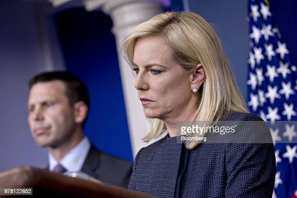 Kirstjen Nielsen US secretary of Homeland Security listens to a question during a White House press briefing in Washington DC US on Monday June 18...