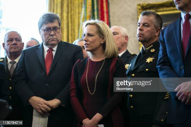Kirstjen Nielsen US secretary of Homeland Security speaks as William Barr US attorney general during a veto signing with US President Donald Trump...