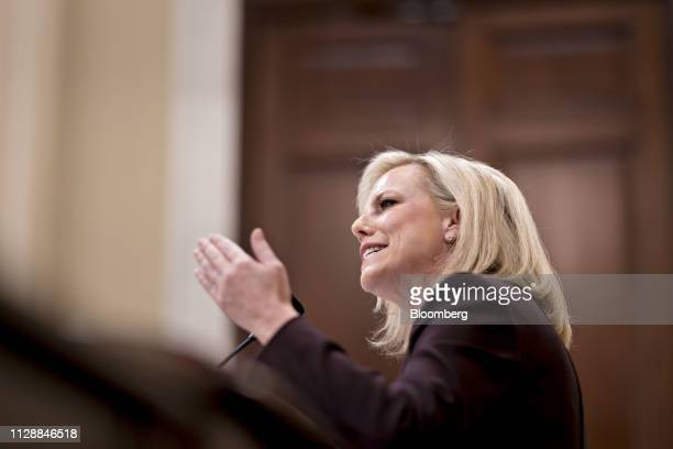 Kirstjen Nielsen US secretary of Homeland Security speaks during a House Homeland Committee hearing in Washington DC US on Wednesday March 6 2019...