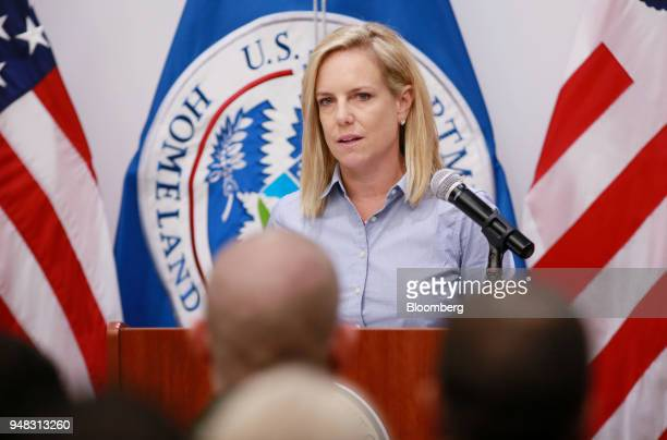 Kirstjen Nielsen US secretary of Homeland Security speaks during a press conference at the Border Patrol station in Imperial California on Wednesday...