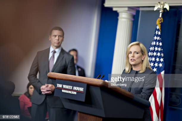 Kirstjen Nielsen US secretary of Homeland Security speaks during a White House press briefing in Washington DC US on Monday June 18 2018 President...