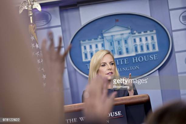 Kirstjen Nielsen US secretary of Homeland Security takes a question during a White House press briefing in Washington DC US on Monday June 18 2018...