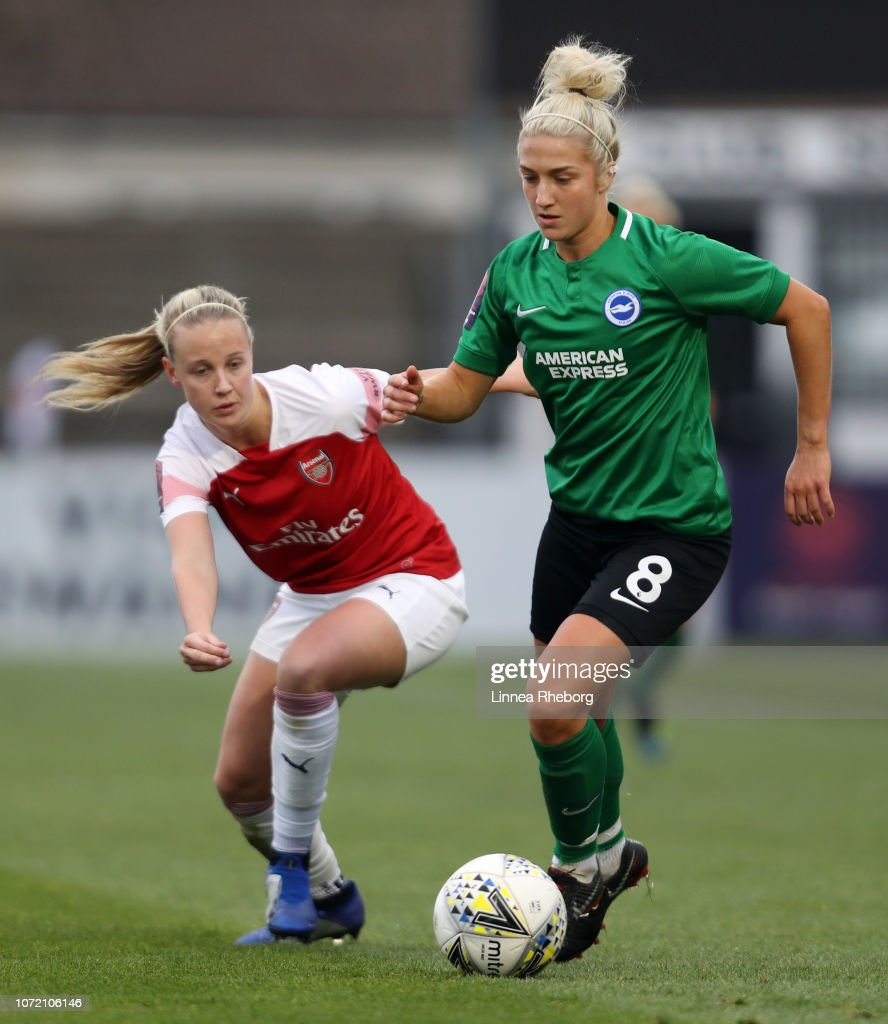 Kirsty Barton Of Brighton Battles For Possession With Beth
