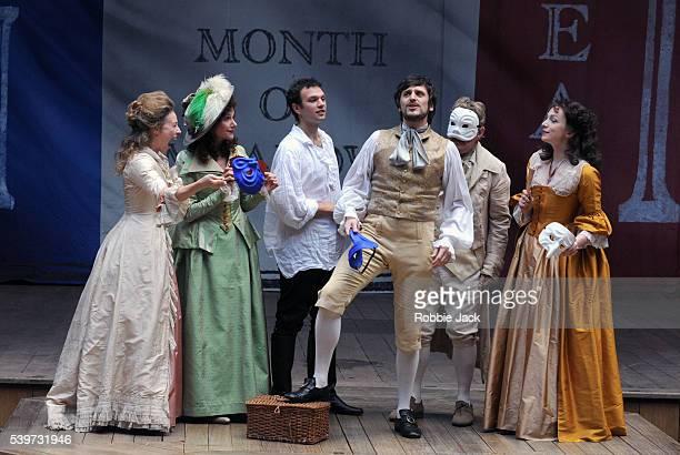 Kirsty Besterman John Bett Belinda Lang Edward Macliam Ellie Piercy and David Sturzaker perform in the production Liberty at the Globe Theatre in...