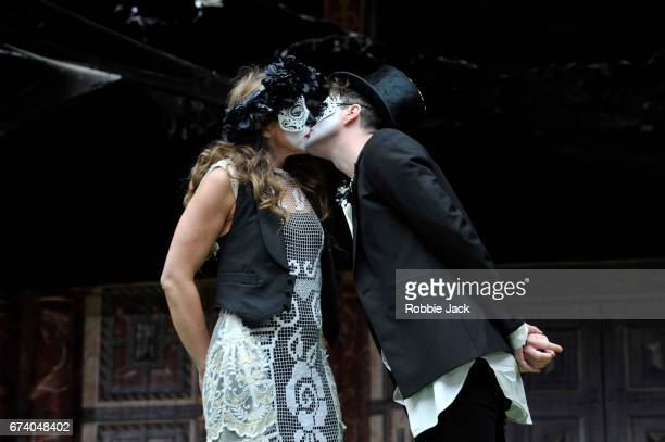 Kirsty Bushell as Juliet and Edward Hogg as Romeo in William Shakespeare's Romeo and Juliet directed by Daniel Kramer at The Globe Theatre on April...