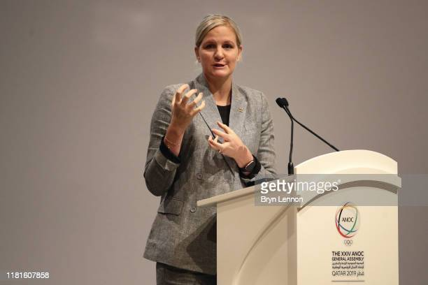 Kirsty Coventry, Chair of the IOC Athletes' Commission speaks during the XXIV ANOC General Assembly on October 17, 2019 in Doha, Qatar.