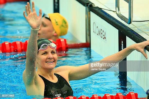 Kirsty Coventry of Zimbabwe celebrates victory in the Women's 200m Backstroke Final held at the National Aquatics Centre during Day 8 of the Beijing...