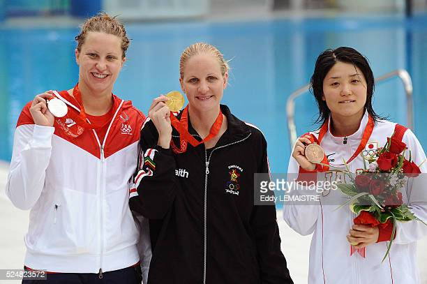Kirsty Coventry of Zimbabwe center gold medal Margaret Hoelzer left silver medal and Reiko Nakamura bronze medal after the Women's 200m Backstroke...