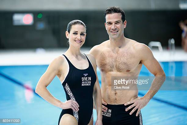 Kirsty Gallacher and Gethin Jones pose for the camera's during the Speedo 'Dive In' launch at Aquatics Centre on April 19 2016 in London England...
