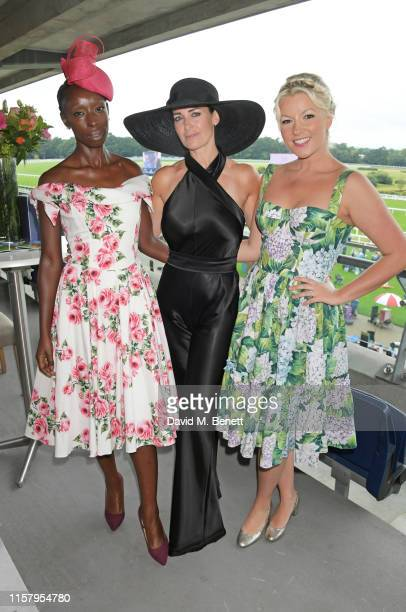 Kirsty Gallacher Eunice Olumide and Natalie Rushdie attend the King George Weekend at Ascot Racecourse on July 27 2019 in Ascot England